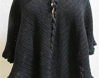 1900's Vintage Black Crochet Wool Shawl With Drawstring Neckline