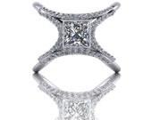 Crossed Double Shank with Bezel Set Princess Cut Diamond Engagement Ring