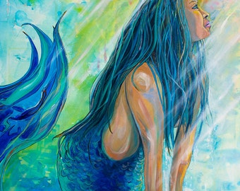 Sunbeam Mermaid-Giclee by Jen Callahan Canvas Wrap