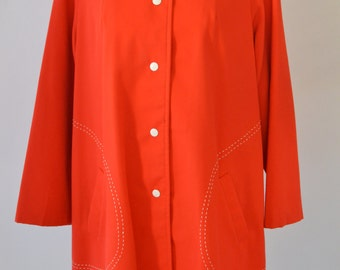 Vintage 60s 70s Bright Red Car Coat