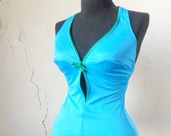70s teal w/ green trim swimsuit// small