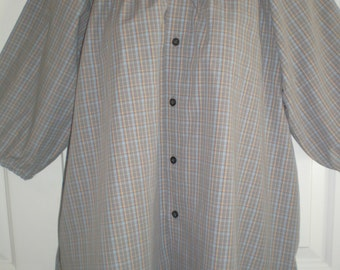 Peasant Blouse upcycled from a men's shirt, 54 inch, Large, pale grey plaid