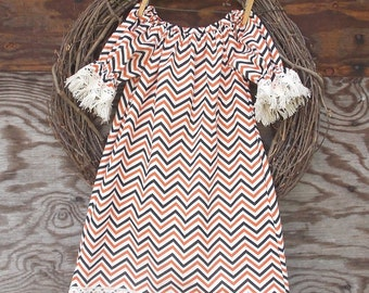 Girls Orange Dress, Girls Lace Dress, Girls peasant dress, girls Fall Dress