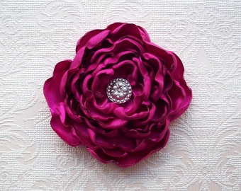Handmade pink satin rose flower brooch / fascinator with pin and clip limited edition wedding quirky emo Approx: 4 inch / 10cm FREE SHIPPING