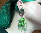 Create Your Own Custom Kraken Earrings: You Pick Two Body Colors And An Eye Color For Regular Pierced And Gauged Ears