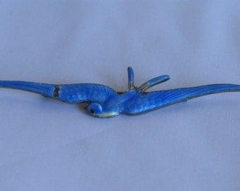 Vintage Sterling Silver Guilloche Enamel Swallow Tail Blue Bird In Flight Brooch