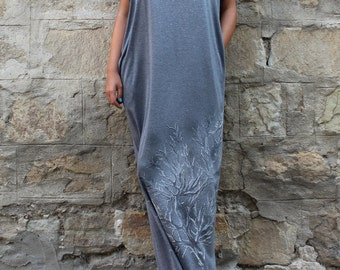 Grey Maxi Dress, Caftan, Hand painted dress, Plus size dress, Long dress, Kaftan , Woman dress, Dress with pockets