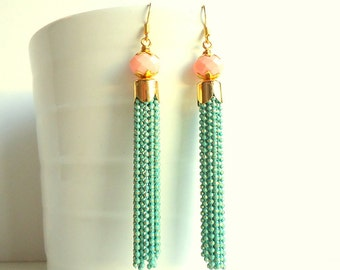 Tassel Earrings, Mint green earrings, Peach pink earrings, Drop earrings, Chain earrings, long earrings, pastel earrings, Bridesmaid gift