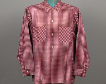 Mens 1960s Shirt -- Deadstock Tri-Color Mini Shadow Check Flannel Shirt by Hallmark -- NOS Size XL