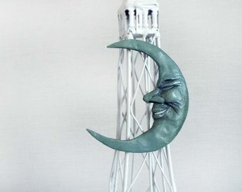 Hand Sculpted Crescent Blue Moon Magnet by Carrie Jackson