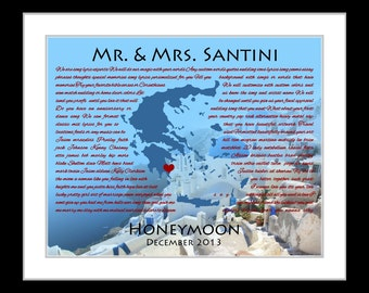 Song lyrics print, personalized honeymoon gift, greece map art, gift for bride and groom, travel print, custom present, destination wedding