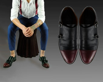 NIETZSCHE Double MONK Shoes, Two Tone  GOODYEAR welt .