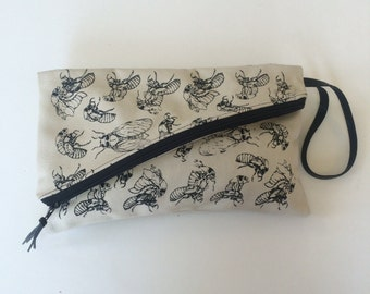 Fold Over Zipper Clutch/ Hand Printed Soft Cotton Bull Denim/ Cicada Life Cycles Print