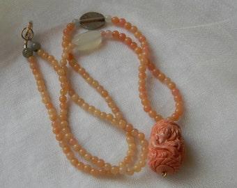 Peach moonstone beads necklace w mermaid pendant , beaded jewelry , moonstone necklace , resin mermaid pendant , Thai silver charm , unusual