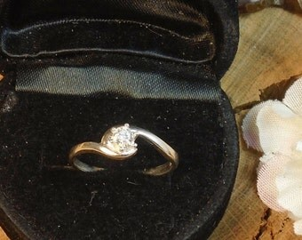1/4 Cts. Natural Diamond Ring, Clear White Earth Diamond Sterling Silver Ring,  .25 or 1/4 Carat Diamonds, Crescent Setting