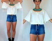 Vintage 70s Angel Wing Sleeve Disco Fluid White cream Draped Mini Tunic Dress Top. Boho hippie Crop Keyhole Blouse. Extra Small - Small