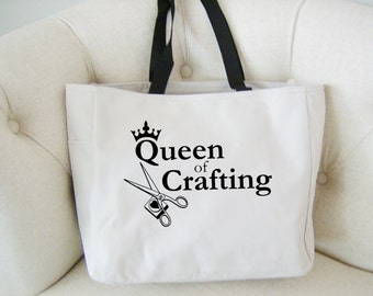 Craft themed tote bag - crafting gift - craft tote bag - polyester crafting bag - original design crafting bag - craft creative tote bag