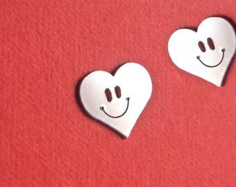 Happy Face Earrings Studs, Heart Smiley Face Stud Earring
