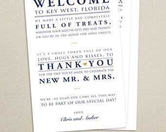 Wedding Hotel Welcome Bag Letter - Wedding Welcome Bag Note - Welcome Bag Poem - Destination Wedding - Card - Thank You - Wedding Weekend