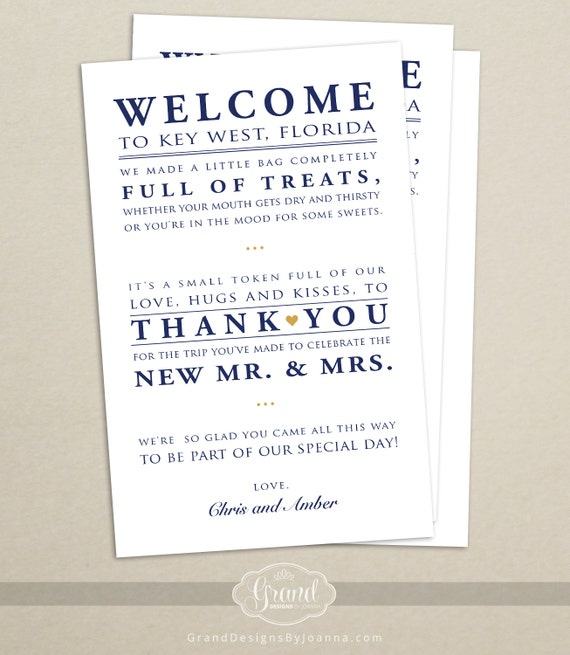 Wedding Gift Bag Notes : Wedding Hotel Welcome Bag Letter - Wedding Welcome Bag Note - Welcome ...