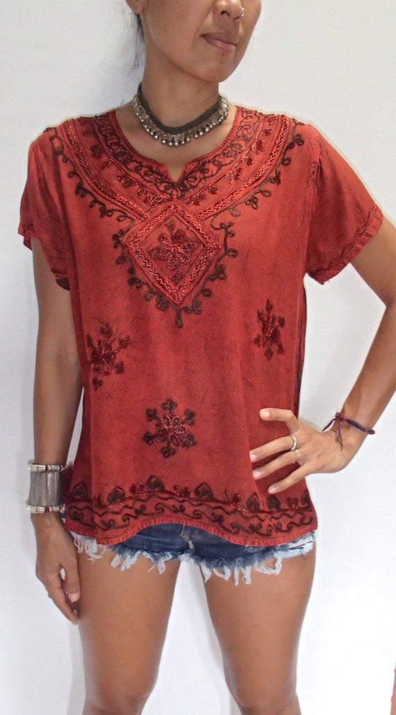 Diamond indian hippie top with silk embroidery very soft and for Diamond and silk t shirts