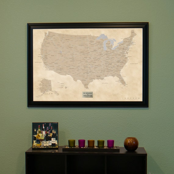 Personalized Vintage USA Push Pin Travel Map by ...