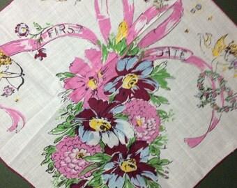 """Vintage HANDKERCHIEF, """"FIRST DATE"""" Hankie, Printed Hanky,  Floral Handkerchief"""