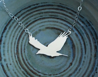 Silver Crow Necklace - Flying Bird Silhouette - Simple Sterling Silver Everyday Boho Necklace
