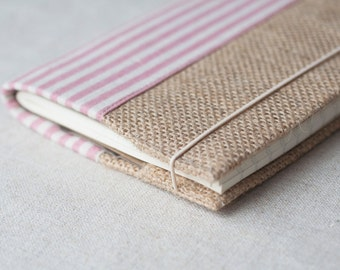 Fabric notebook cover, eco friendly, burlap cover, notebook case, pocket notebook cover, refillable notebook, A6 -  pink stripe