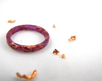 Boysenberry Stacking Resin Rings with Rose Gold Flakes