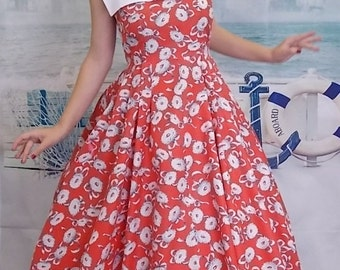 1950's Style Red Floral Rockabilly Bonnie Dress by Forever Amber