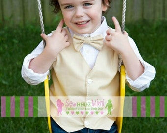 Ring Bearer Off White Vest Pre-Tied Bow Tie Infant, Toddler, Child, thru 10 Youth Khaki Champagne