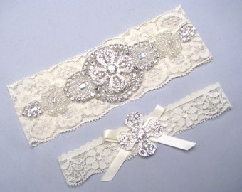 Wedding Garter Set, Crystal Garter, Ivory / White Lace Garter, Keepsake Toss Garter, Bridal Garter, Stretch Lace Garter, Custom Size Garter