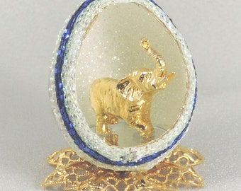 Miniature Gold Elephant Figurine Gold Elephant Statue in Decorated Egg Ornament