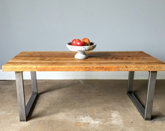 Reclaimed Wood Coffee Table / Industrial U-Shaped Metal Legs