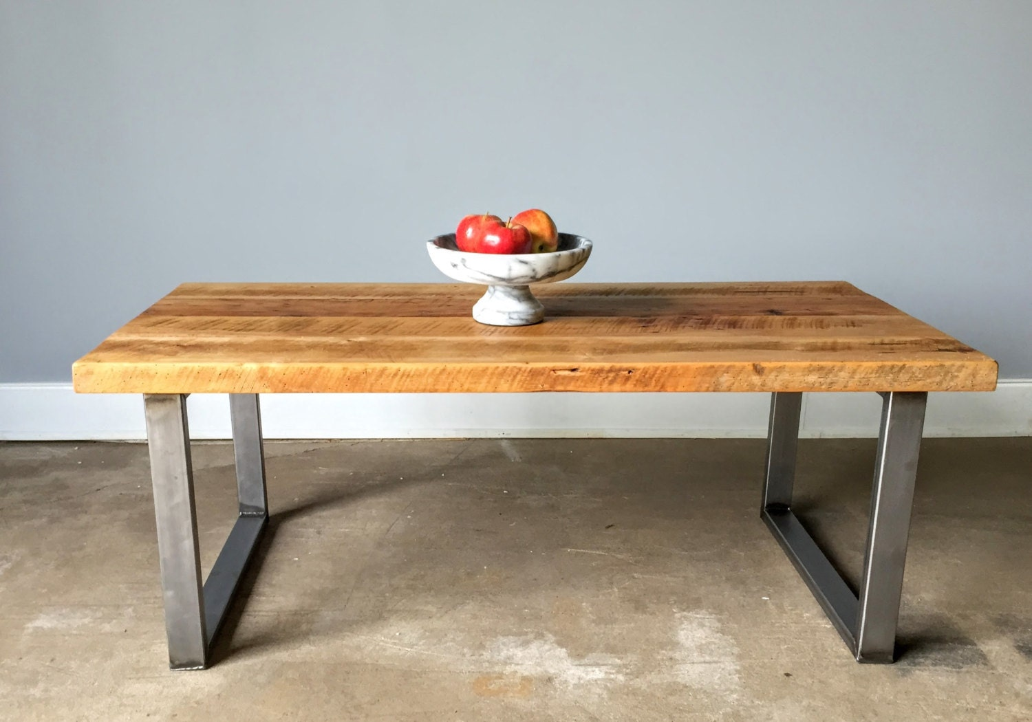 reclaimed wood coffee table industrial u shaped metal legs