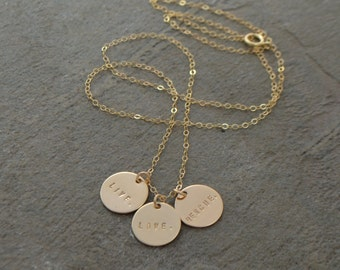 Gold or Silver Disc Name Necklace - Gold Three Disc Necklace