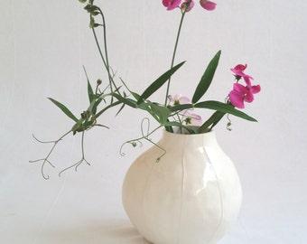 Ceramic vase.  White on white pottery. Simple modern design. Short medium size flower vase. Wedding gift with Scandinavian style