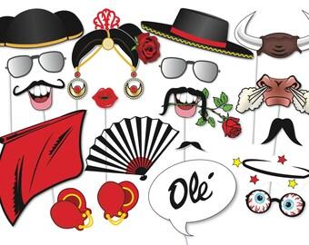 Flamenco / Matador Photobooth Party Props Set - 21 Piece PRINTABLE - Flamenco Photo Booth Props, Spanish Party, matador de toros, Fiesta