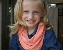 Girls Dreamsicle Orange/Coral Infinity Scarf Cotton Jersey Tri-Blend Knit Scarf Women's Girl's Accessories