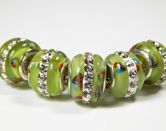 1x Murano Glass Bead - Green With Rhinestones - Lampwork Glass Bead - Large Hole - Fit European - A32
