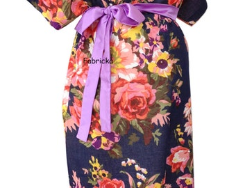Navy Blue Flower Bloom Maternity gown - Maternity Hospital Gown - Snaps Breastfeeding - Skin to Skin - Snaps down back gown delivery