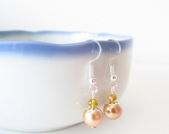 Gold Glass Pearl Earrings - Yellow Crystal Bead Earrings - Beaded Silver Flower Dangle Earrings - Handmade Jewelry Christmas Gifts for Her