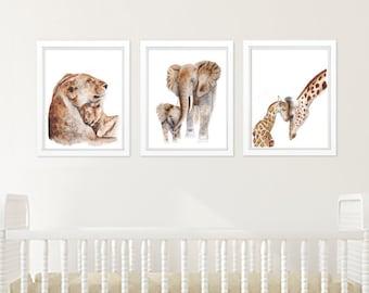 Safari Nursery Art, Set of Prints, Animal Print Set, Mother and Baby Animals, Lion, Elephant, Giraffe, Baby Decor, Animal Prints