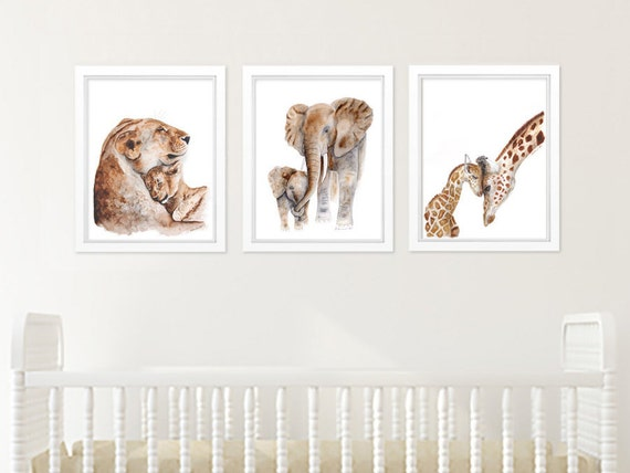 Safari Nursery Art Set Of Prints Animal Print Set Mother