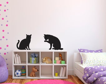 Cat Silhouettes - Set of 2 - Cat Decals - Cat Wall Stickers - Cat Lover - Cat Decor