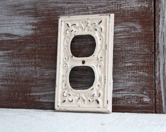 Beige Ivory Outlet Cover, Electrical Outlet Plate, Wall Plug Cover Metal Outlet Cover, Cast Iron Fleur de lis cover plate, Wall Socket Cover
