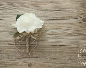 Rustic Boutonniere, Hydrangea Boutonniere, Rustic Buttonhole, Twine and Burlap Wedding, Groomsmen Flowers, corsage