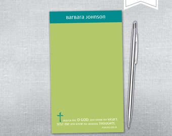Religious notepad. Bible verse notepad. Personalized religious notepad.