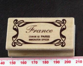 Art Deco France Paris Border Immigration Rubber Stamp